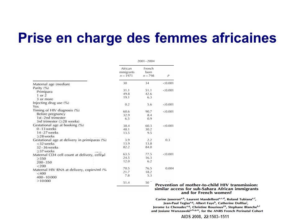 Prise en charge des femmes africaines AIDS 2008, 22:1503–1511