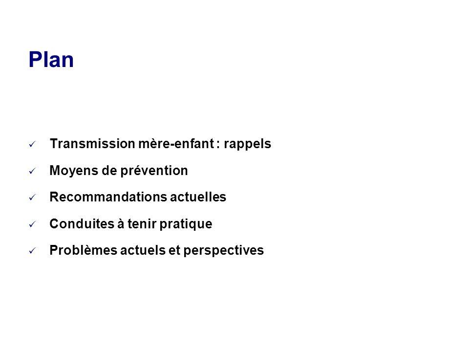 Plan Transmission mère-enfant : rappels Moyens de prévention Recommandations actuelles Conduites à tenir pratique Problèmes actuels et perspectives