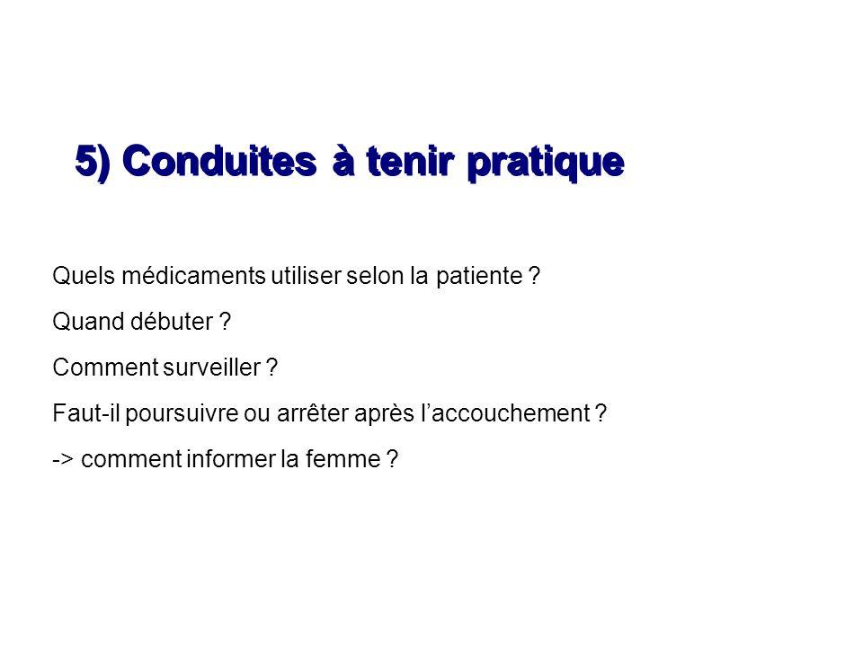 Quels médicaments utiliser selon la patiente ? Quand débuter ? Comment surveiller ? Faut-il poursuivre ou arrêter après laccouchement ? -> comment inf