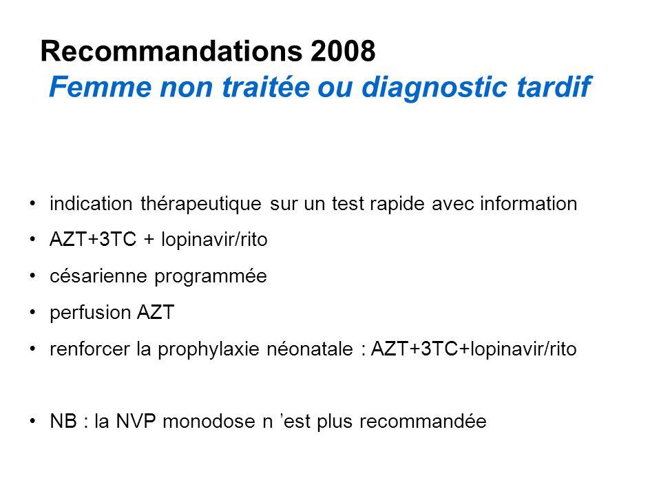 Recommandations 2008 Femme non traitée ou diagnostic tardif indication thérapeutique sur un test rapide avec information AZT+3TC + lopinavir/rito césarienne programmée perfusion AZT renforcer la prophylaxie néonatale : AZT+3TC+lopinavir/rito NB : la NVP monodose n est plus recommandée