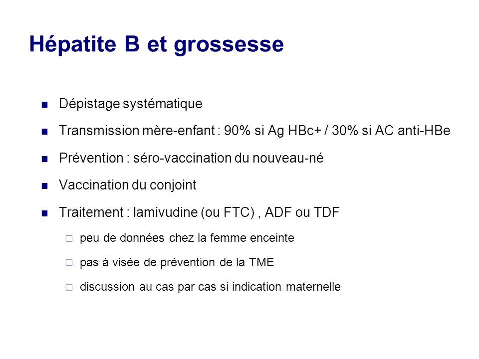 Hépatite B et grossesse Dépistage systématique Transmission mère-enfant : 90% si Ag HBc+ / 30% si AC anti-HBe Prévention : séro-vaccination du nouveau-né Vaccination du conjoint Traitement : lamivudine (ou FTC), ADF ou TDF peu de données chez la femme enceinte pas à visée de prévention de la TME discussion au cas par cas si indication maternelle