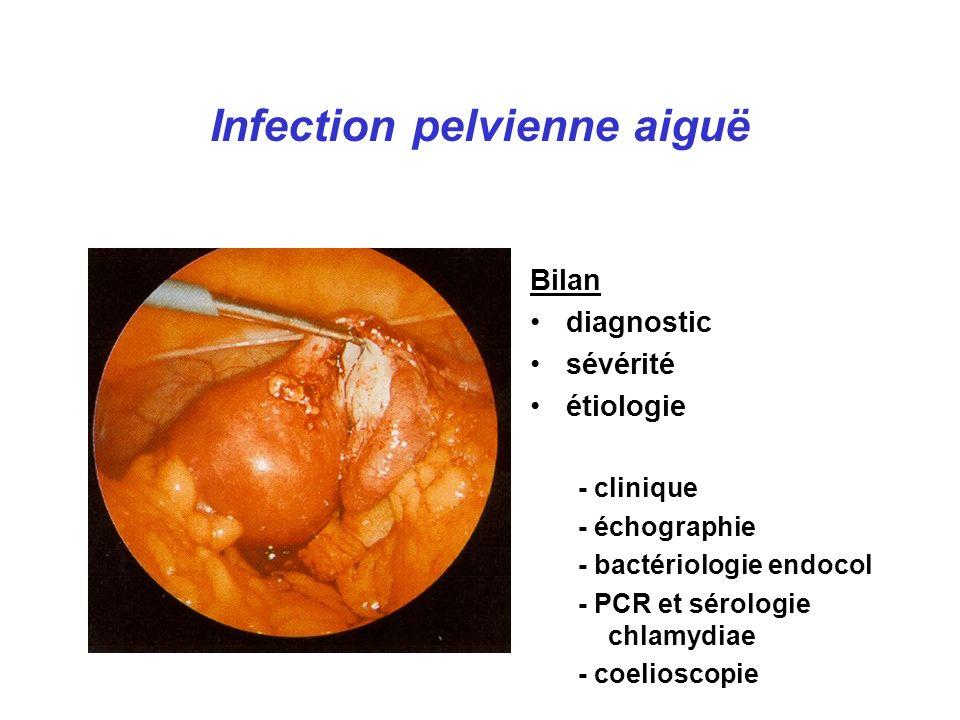 Infection pelvienne aiguë Bilan diagnostic sévérité étiologie - clinique - échographie - bactériologie endocol - PCR et sérologie chlamydiae - coelioscopie