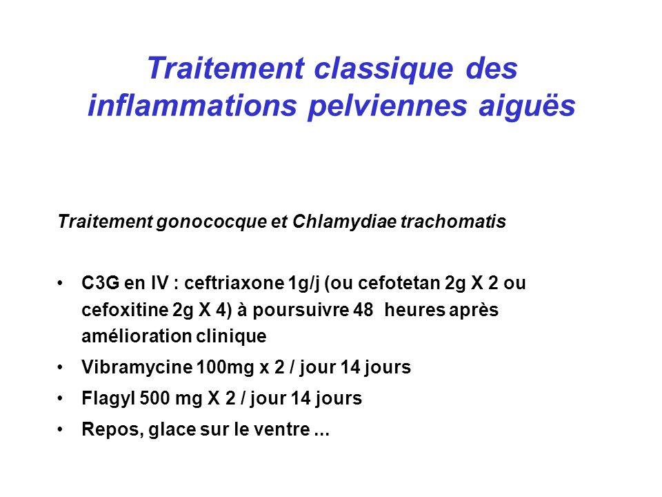 Traitement classique des inflammations pelviennes aiguës Traitement gonococque et Chlamydiae trachomatis C3G en IV : ceftriaxone 1g/j (ou cefotetan 2g X 2 ou cefoxitine 2g X 4) à poursuivre 48 heures après amélioration clinique Vibramycine 100mg x 2 / jour 14 jours Flagyl 500 mg X 2 / jour 14 jours Repos, glace sur le ventre...