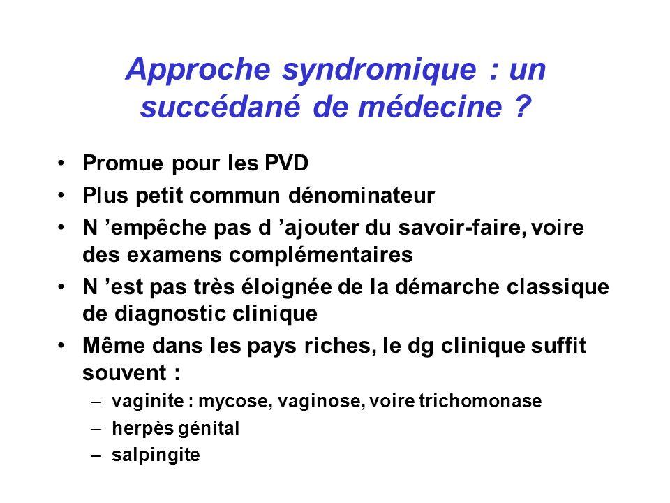 Approche syndromique : un succédané de médecine .