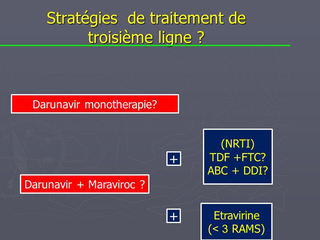 Stratégies de traitement de troisième ligne ? Darunavir monotherapie? Etravirine ( < 3 RAMS) (NRTI) TDF +FTC? ABC + DDI? + + Darunavir + Maraviroc ?