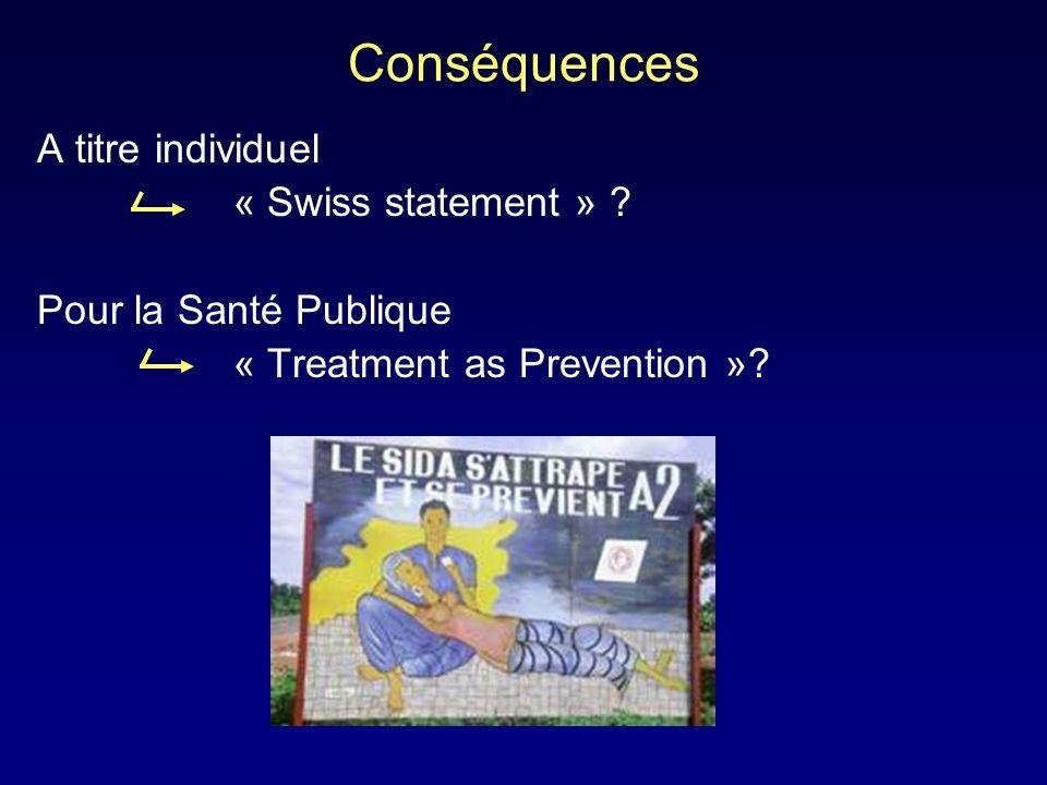 Conséquences A titre individuel « Swiss statement » ? Pour la Santé Publique « Treatment as Prevention »?