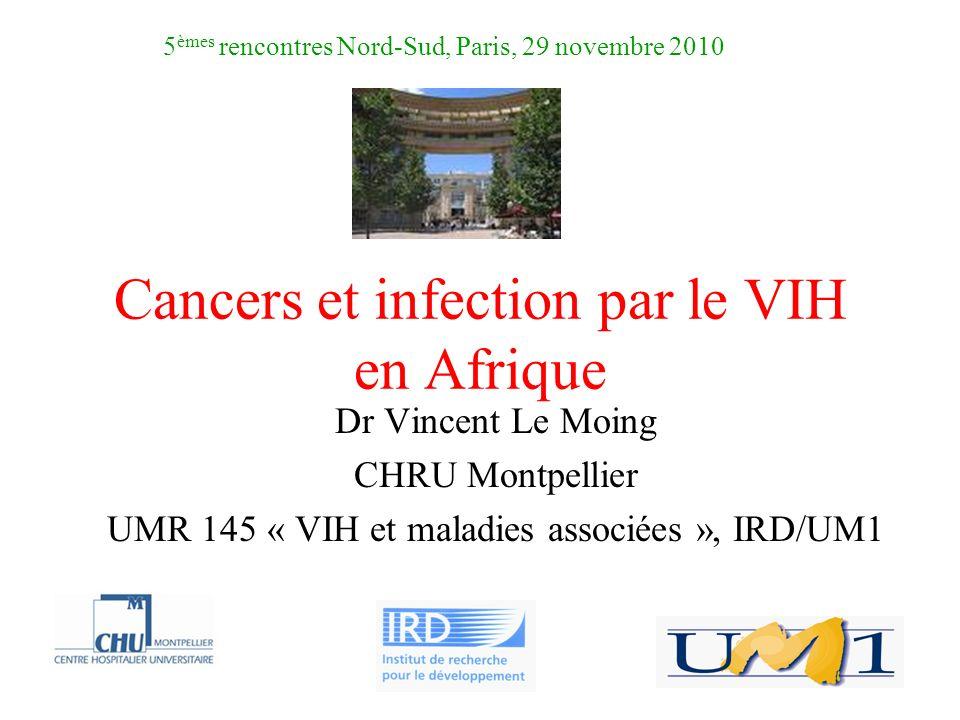 Cancers et infection par le VIH en Afrique Dr Vincent Le Moing CHRU Montpellier UMR 145 « VIH et maladies associées », IRD/UM1 5 èmes rencontres Nord-