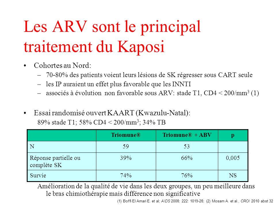 Les ARV sont le principal traitement du Kaposi Cohortes au Nord: –70-80% des patients voient leurs lésions de SK régresser sous CART seule –les IP aur