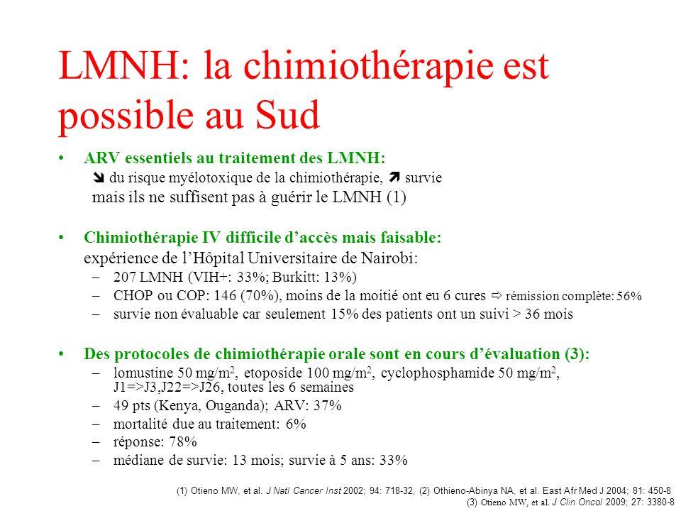 LMNH: la chimiothérapie est possible au Sud ARV essentiels au traitement des LMNH: du risque myélotoxique de la chimiothérapie, survie mais ils ne suf