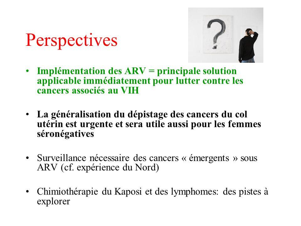 Perspectives Implémentation des ARV = principale solution applicable immédiatement pour lutter contre les cancers associés au VIH La généralisation du