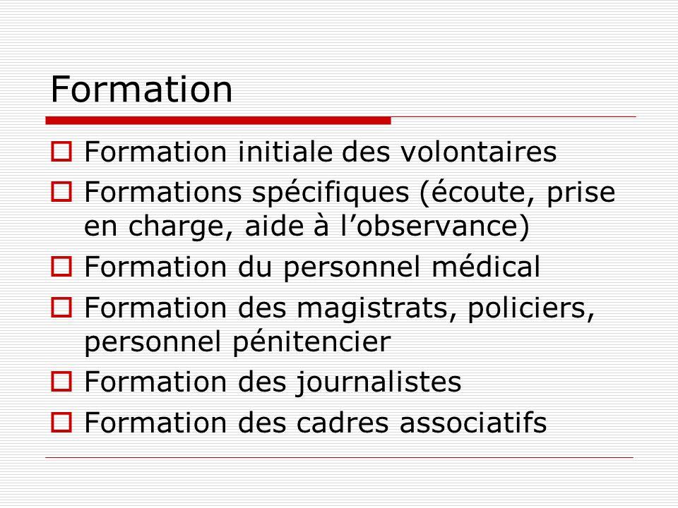 Formation Formation initiale des volontaires Formations spécifiques (écoute, prise en charge, aide à lobservance) Formation du personnel médical Forma