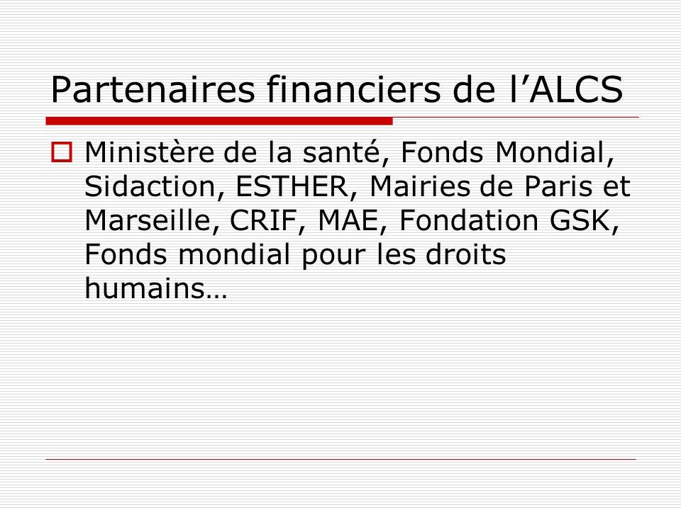 Partenaires financiers de lALCS Ministère de la santé, Fonds Mondial, Sidaction, ESTHER, Mairies de Paris et Marseille, CRIF, MAE, Fondation GSK, Fond