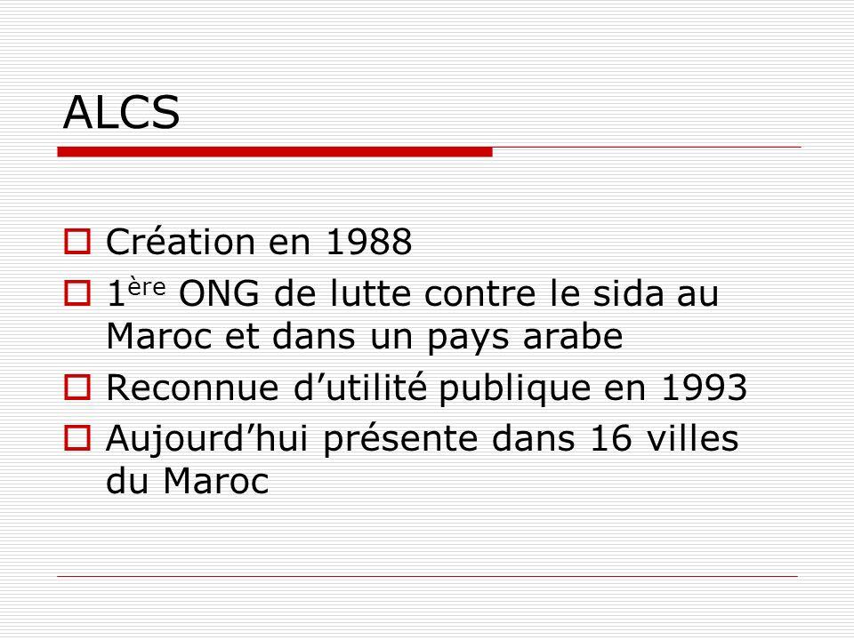 ALCS Création en 1988 1 ère ONG de lutte contre le sida au Maroc et dans un pays arabe Reconnue dutilité publique en 1993 Aujourdhui présente dans 16