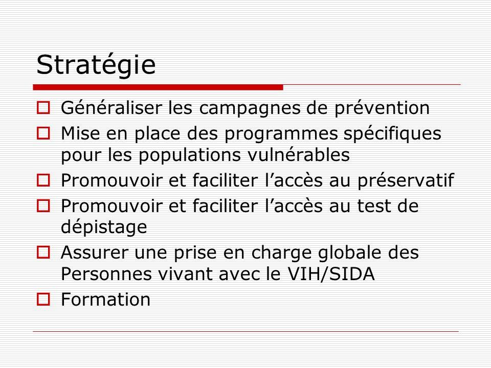Stratégie Généraliser les campagnes de prévention Mise en place des programmes spécifiques pour les populations vulnérables Promouvoir et faciliter la