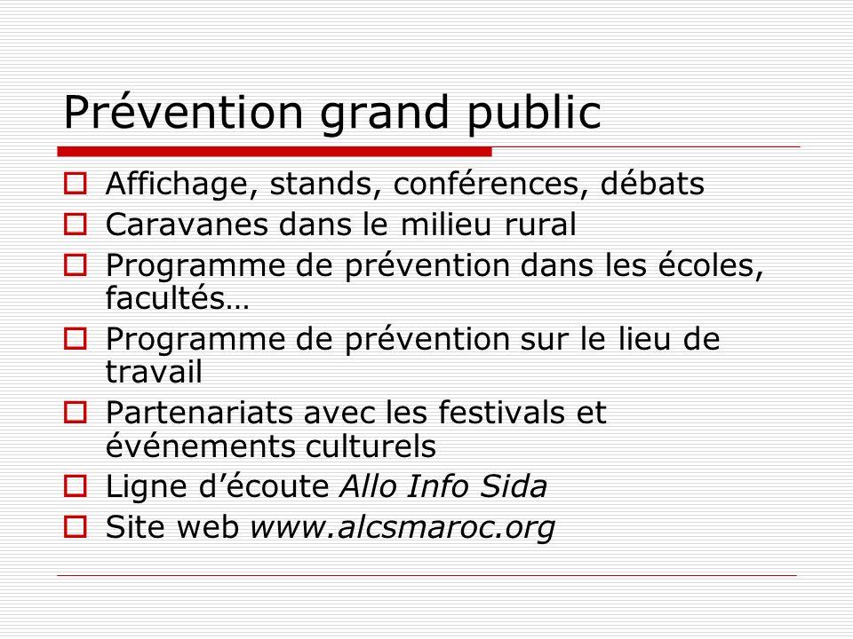 Prévention grand public Affichage, stands, conférences, débats Caravanes dans le milieu rural Programme de prévention dans les écoles, facultés… Progr