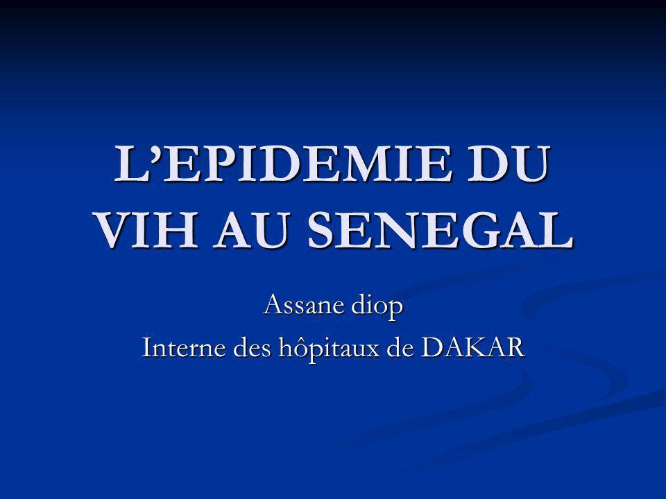 LEPIDEMIE DU VIH AU SENEGAL Assane diop Interne des hôpitaux de DAKAR