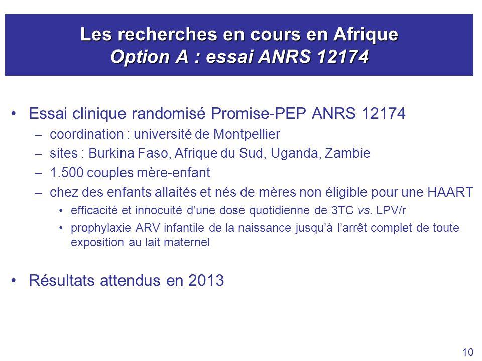 Les recherches en cours en Afrique Option A : essai ANRS 12174 Essai clinique randomisé Promise-PEP ANRS 12174 –coordination : université de Montpelli