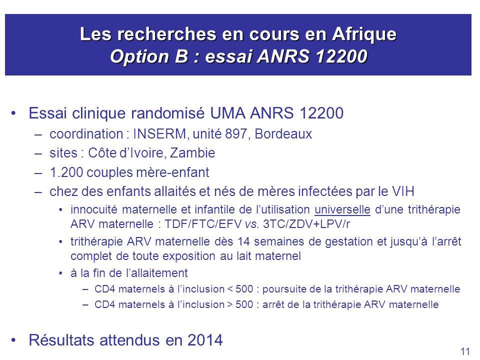 Les recherches en cours en Afrique Option B : essai ANRS 12200 Essai clinique randomisé UMA ANRS 12200 –coordination : INSERM, unité 897, Bordeaux –si