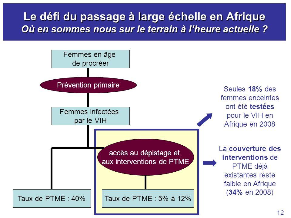 Le défi du passage à large échelle en Afrique Où en sommes nous sur le terrain à lheure actuelle ? 12 Femmes infectées par le VIH Taux de PTME : 40%Ta