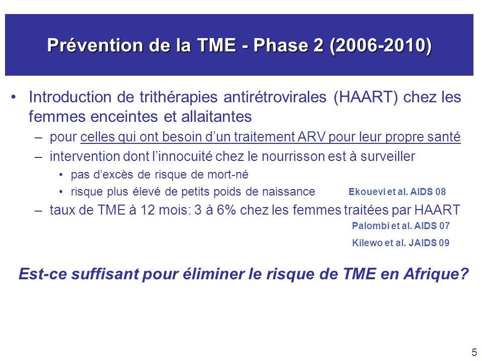 Prévention de la TME - Phase 2 (2006-2010) Introduction de trithérapies antirétrovirales (HAART) chez les femmes enceintes et allaitantes –pour celles