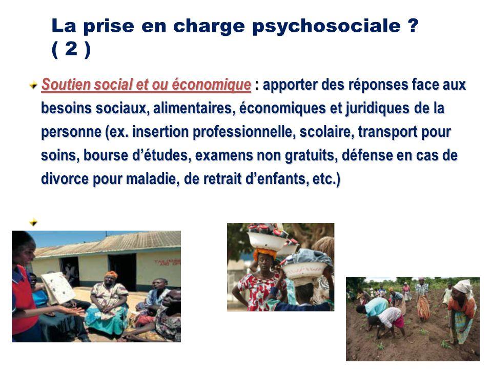 Soutien social et ou économique : apporter des réponses face aux besoins sociaux, alimentaires, économiques et juridiques de la personne (ex.
