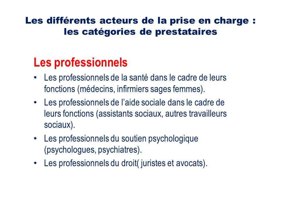 Les différents acteurs de la prise en charge : les catégories de prestataires Les professionnels Les professionnels de la santé dans le cadre de leurs fonctions (médecins, infirmiers sages femmes).