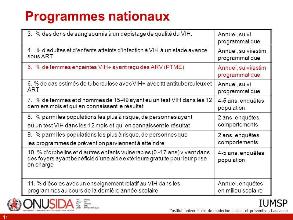 IUMSP Institut universitaire de médecine sociale et préventive, Lausanne 11 Programmes nationaux 3.