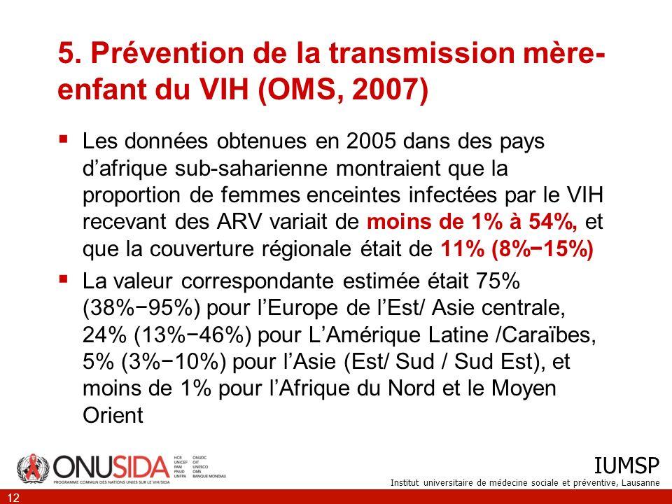 IUMSP Institut universitaire de médecine sociale et préventive, Lausanne 12 5.