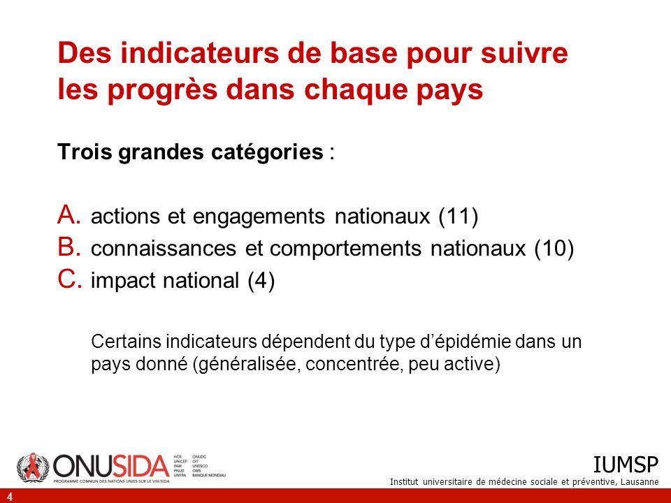 IUMSP Institut universitaire de médecine sociale et préventive, Lausanne 4 Des indicateurs de base pour suivre les progrès dans chaque pays Trois grandes catégories : A.