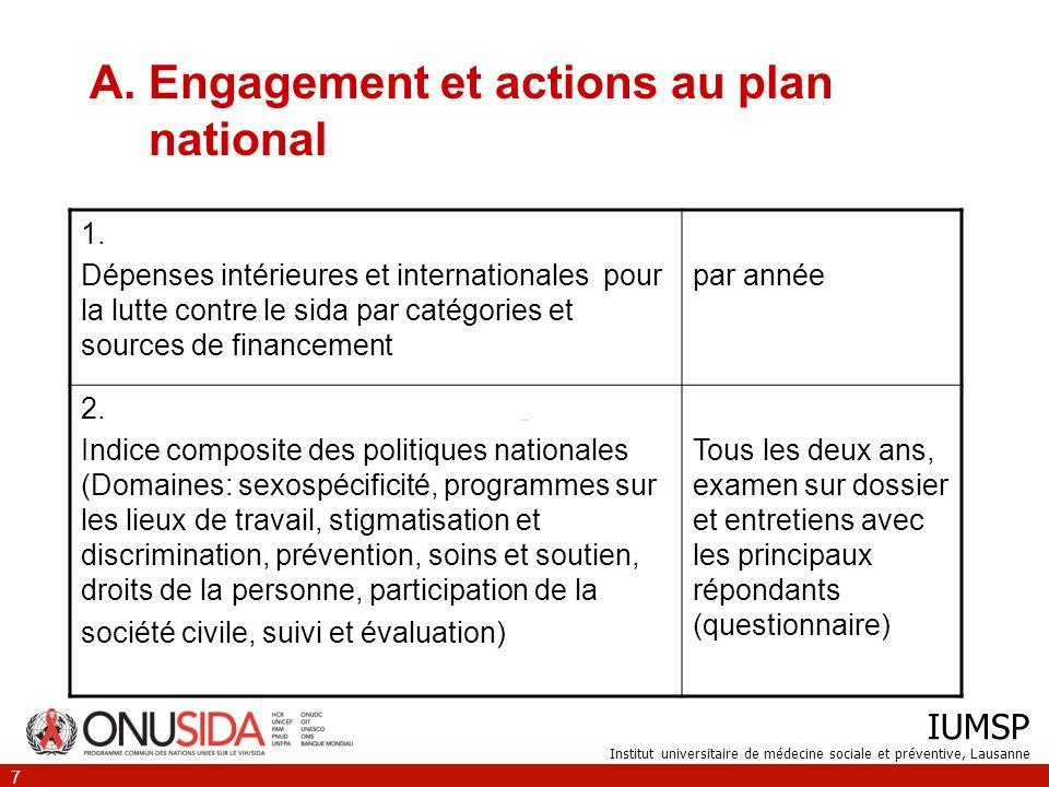 IUMSP Institut universitaire de médecine sociale et préventive, Lausanne 7 A.Engagement et actions au plan national 1.