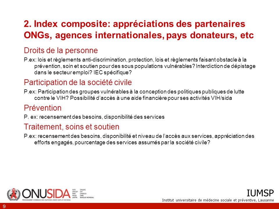 IUMSP Institut universitaire de médecine sociale et préventive, Lausanne 9 2.