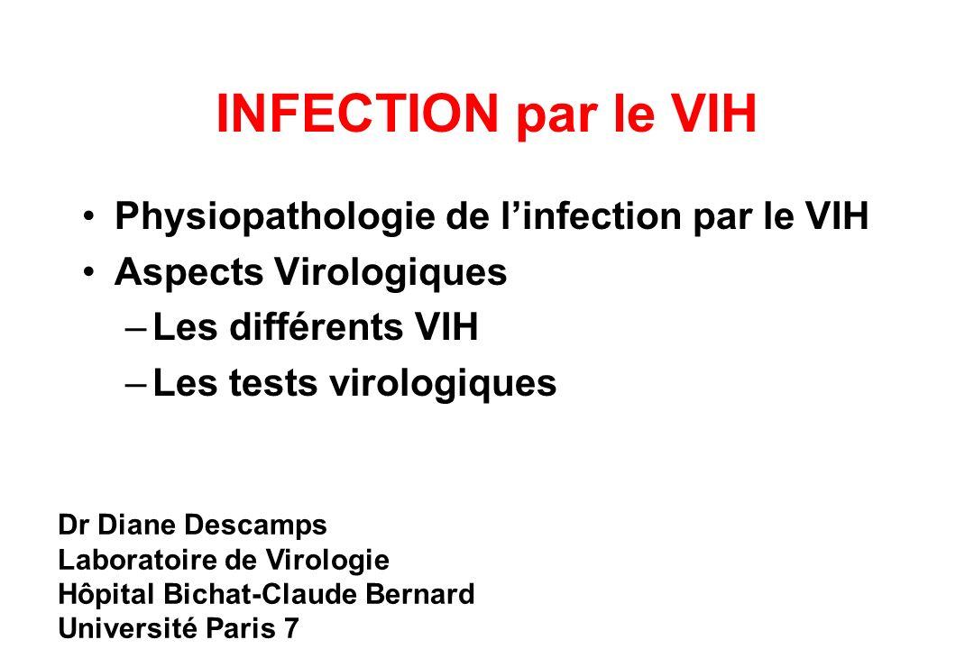 INFECTION par le VIH Physiopathologie de linfection par le VIH Aspects Virologiques –Les différents VIH –Les tests virologiques Dr Diane Descamps Laboratoire de Virologie Hôpital Bichat-Claude Bernard Université Paris 7