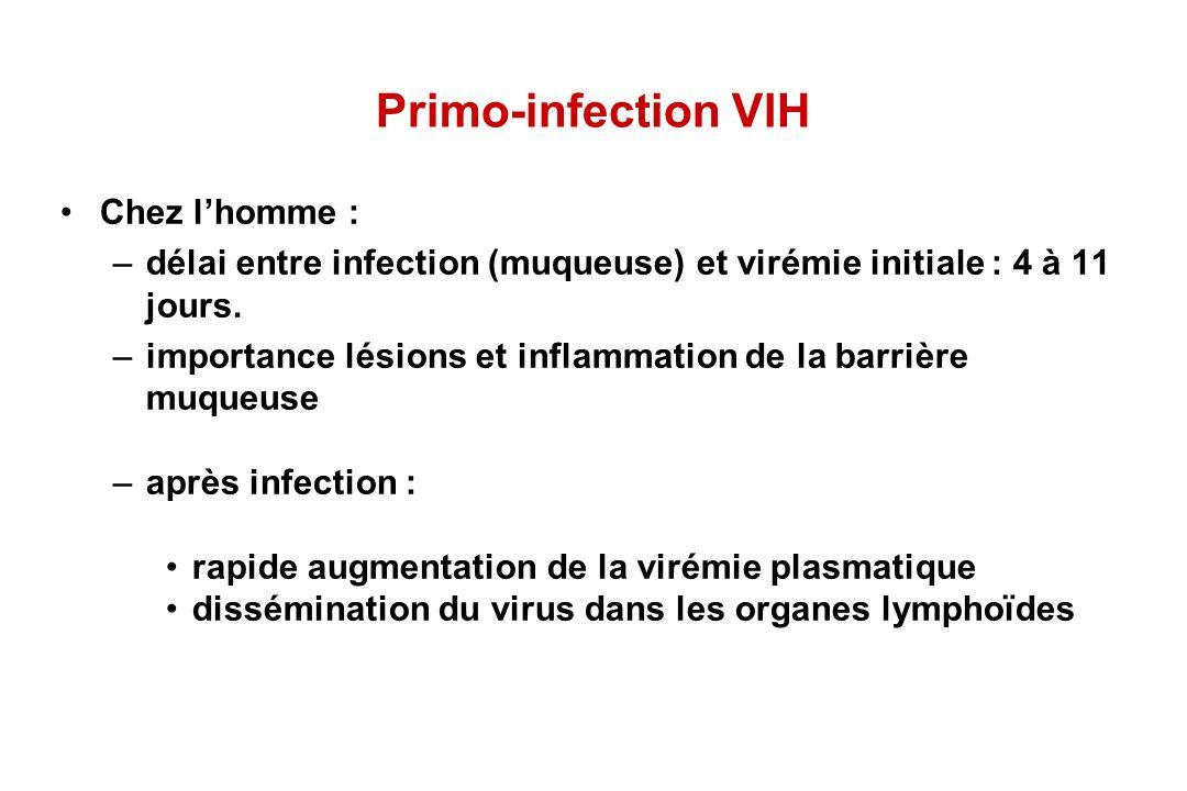Primo-infection VIH Chez lhomme : –délai entre infection (muqueuse) et virémie initiale : 4 à 11 jours.