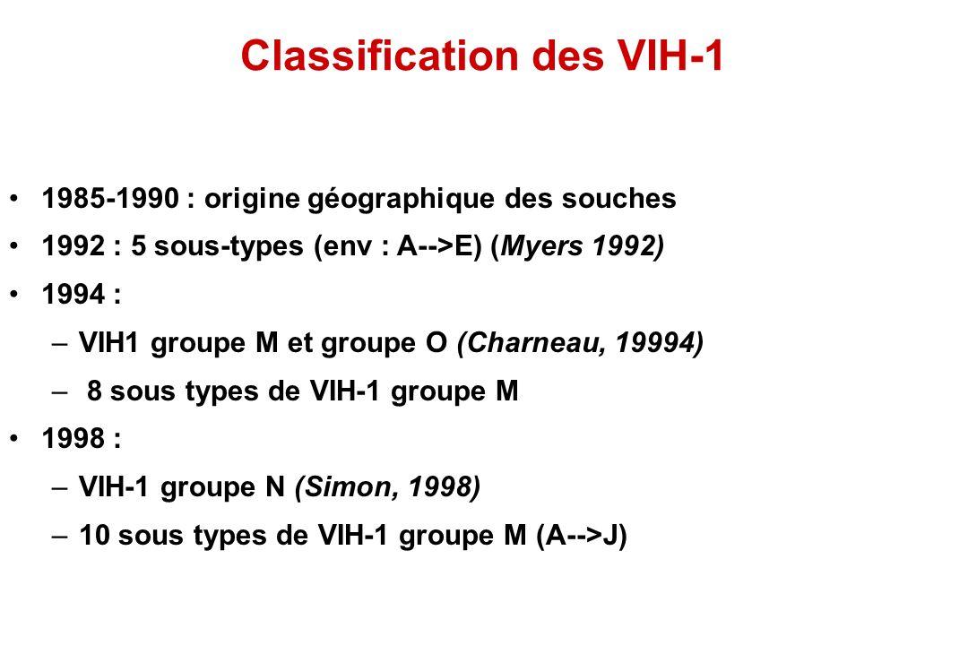 Classification des VIH-1 1985-1990 : origine géographique des souches 1992 : 5 sous-types (env : A-->E) (Myers 1992) 1994 : –VIH1 groupe M et groupe O (Charneau, 19994) – 8 sous types de VIH-1 groupe M 1998 : –VIH-1 groupe N (Simon, 1998) –10 sous types de VIH-1 groupe M (A-->J)