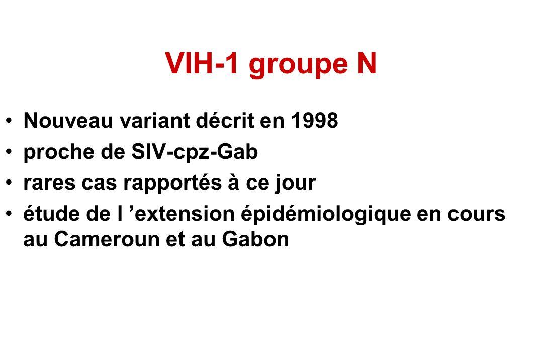 VIH-1 groupe N Nouveau variant décrit en 1998 proche de SIV-cpz-Gab rares cas rapportés à ce jour étude de l extension épidémiologique en cours au Cameroun et au Gabon