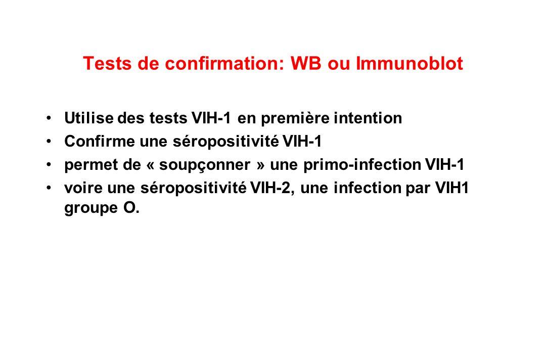 Tests de confirmation: WB ou Immunoblot Utilise des tests VIH-1 en première intention Confirme une séropositivité VIH-1 permet de « soupçonner » une primo-infection VIH-1 voire une séropositivité VIH-2, une infection par VIH1 groupe O.