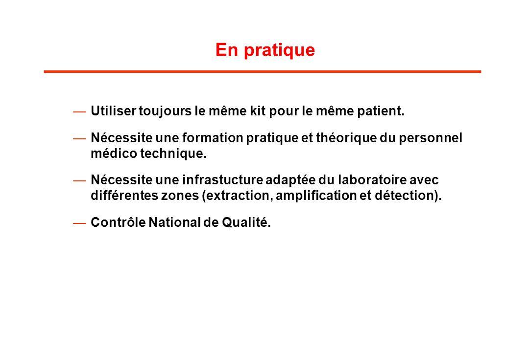 En pratique Utiliser toujours le même kit pour le même patient.