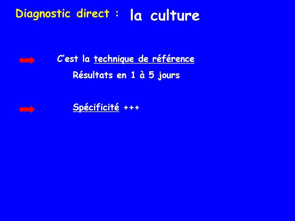la culture Diagnostic direct : Cest la technique de référence Résultats en 1 à 5 jours Spécificité +++