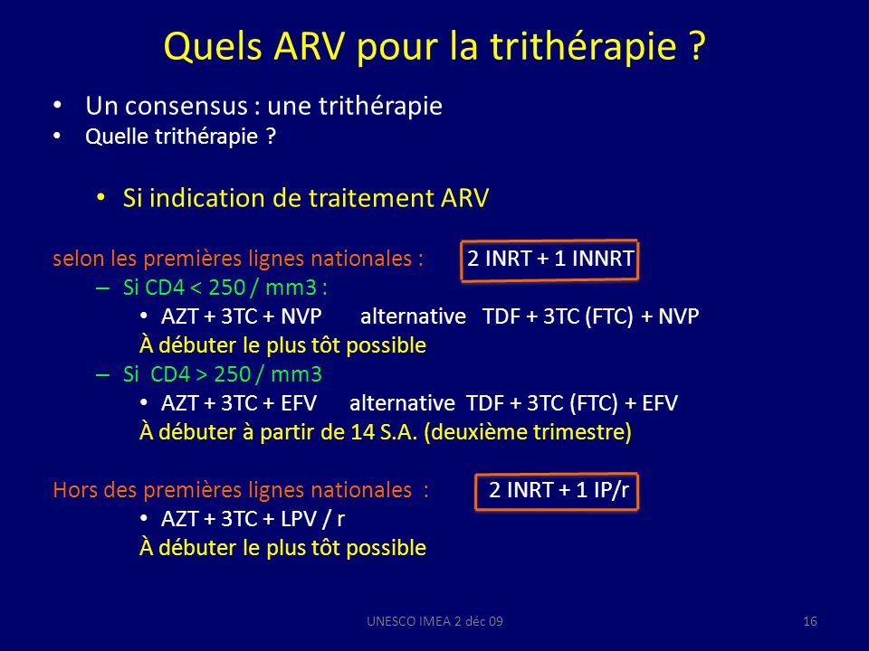 Quels ARV pour la trithérapie ? Un consensus : une trithérapie Quelle trithérapie ? Si indication de traitement ARV selon les premières lignes nationa
