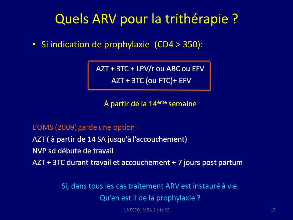 Quels ARV pour la trithérapie ? Si indication de prophylaxie (CD4 > 350): AZT + 3TC + LPV/r ou ABC ou EFV AZT + 3TC (ou FTC)+ EFV À partir de la 14 èm