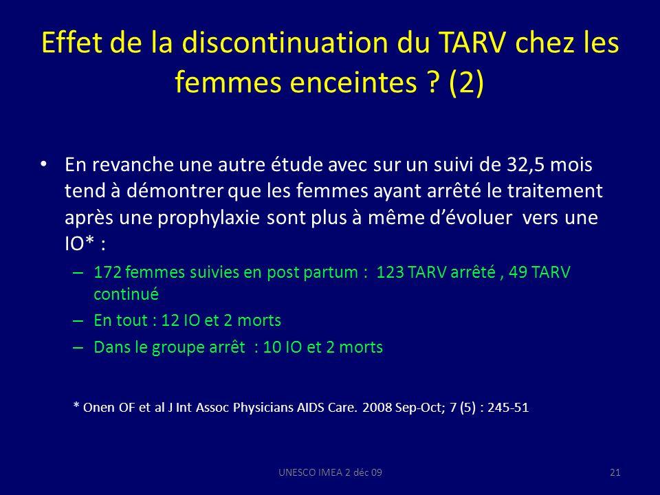 Effet de la discontinuation du TARV chez les femmes enceintes ? (2) En revanche une autre étude avec sur un suivi de 32,5 mois tend à démontrer que le