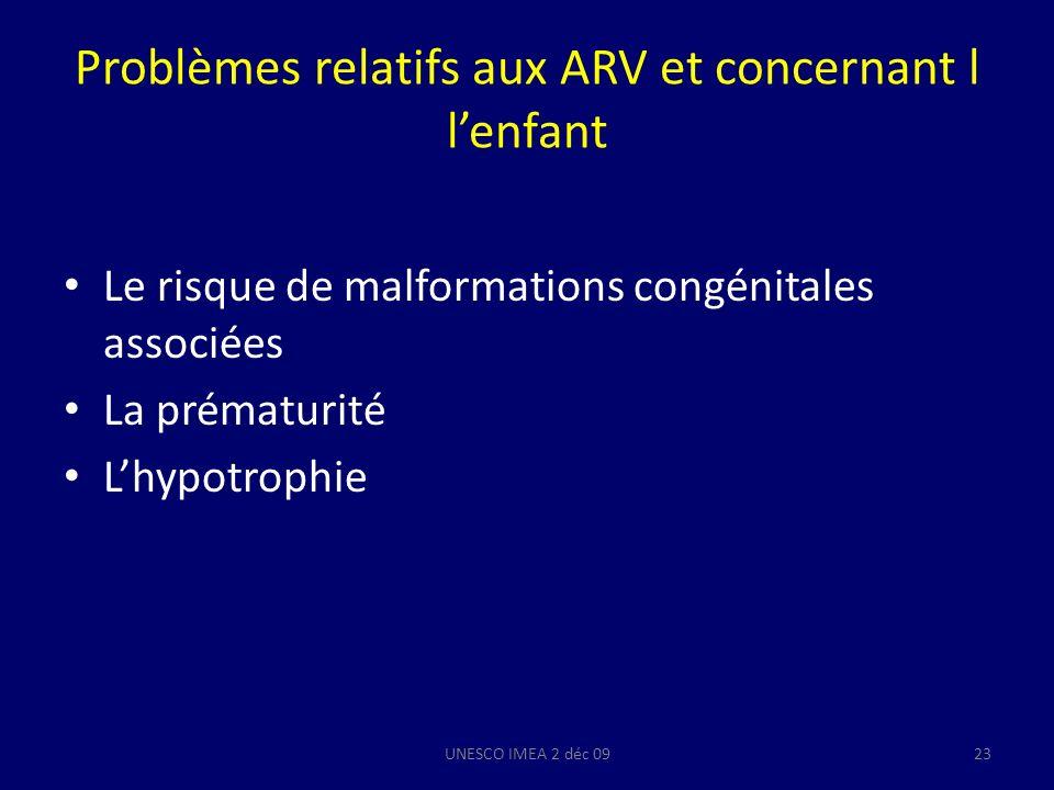 Problèmes relatifs aux ARV et concernant l lenfant Le risque de malformations congénitales associées La prématurité Lhypotrophie UNESCO IMEA 2 déc 092