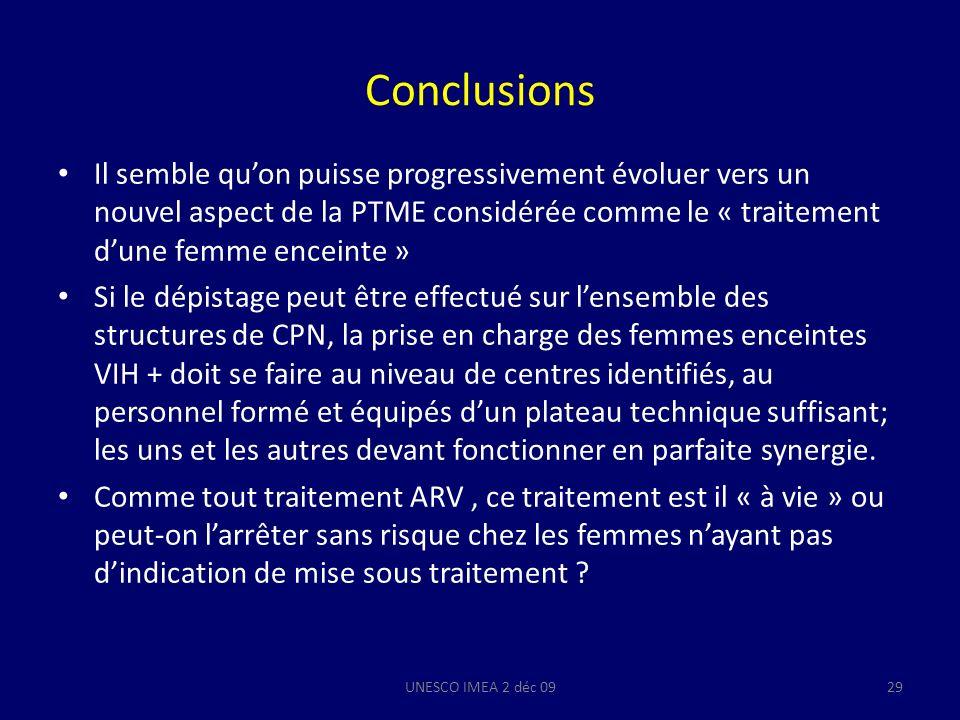 Conclusions Il semble quon puisse progressivement évoluer vers un nouvel aspect de la PTME considérée comme le « traitement dune femme enceinte » Si l