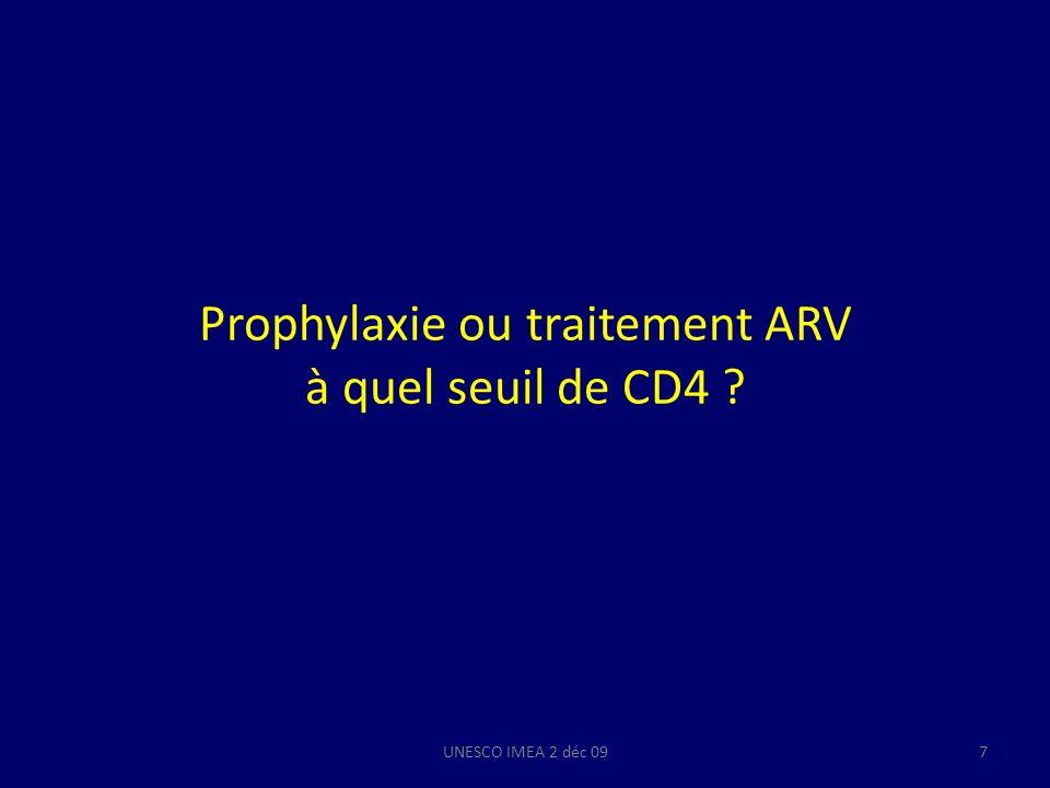 Prophylaxie ou traitement ARV à quel seuil de CD4 ? UNESCO IMEA 2 déc 097