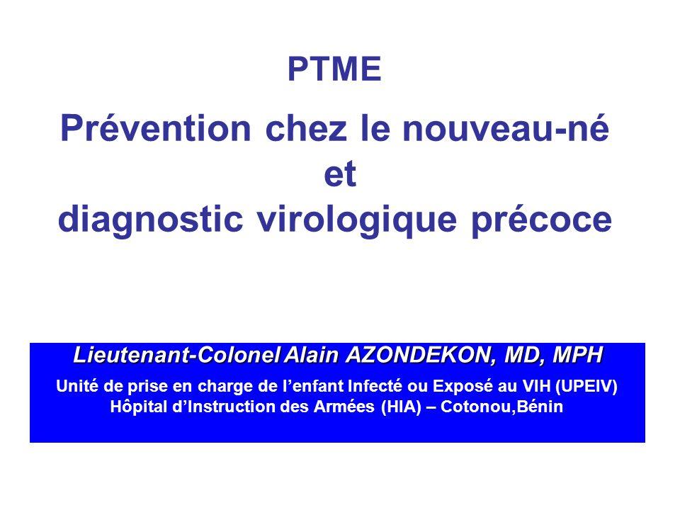 Plan Épidémiologie Prévention de la transmission chez le nouveau-né Diagnostic virologique précoce du nouveau-né Que faire dans les PVD Conclusion