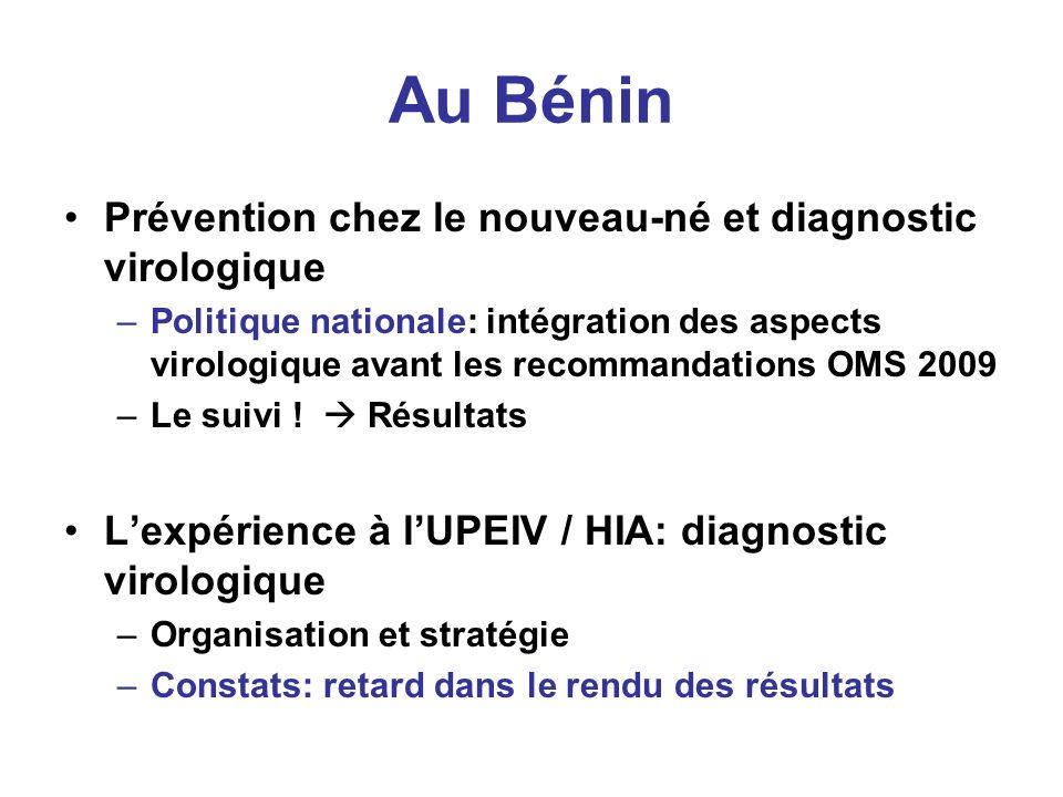 Au Bénin Prévention chez le nouveau-né et diagnostic virologique –Politique nationale: intégration des aspects virologique avant les recommandations OMS 2009 –Le suivi .
