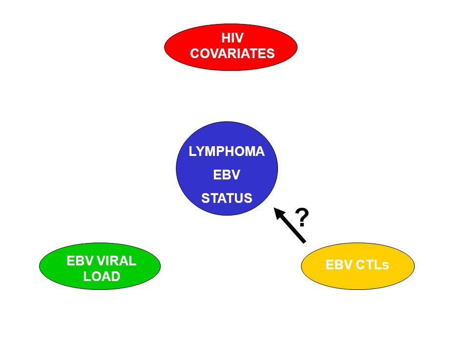 LYMPHOMA EBV STATUS HIV COVARIATES EBV CTLs EBV VIRAL LOAD ?