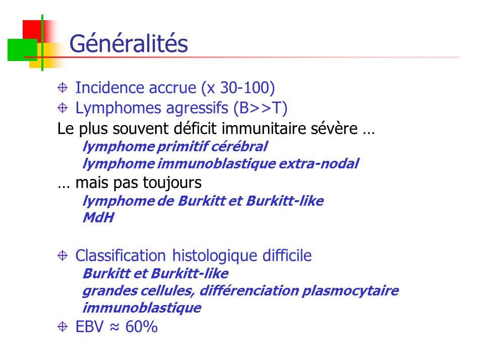 Généralités Incidence accrue (x 30-100) Lymphomes agressifs (B>>T) Le plus souvent déficit immunitaire sévère … lymphome primitif cérébral lymphome im