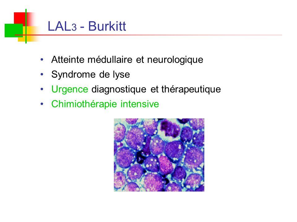 LAL 3 - Burkitt Atteinte médullaire et neurologique Syndrome de lyse Urgence diagnostique et thérapeutique Chimiothérapie intensive