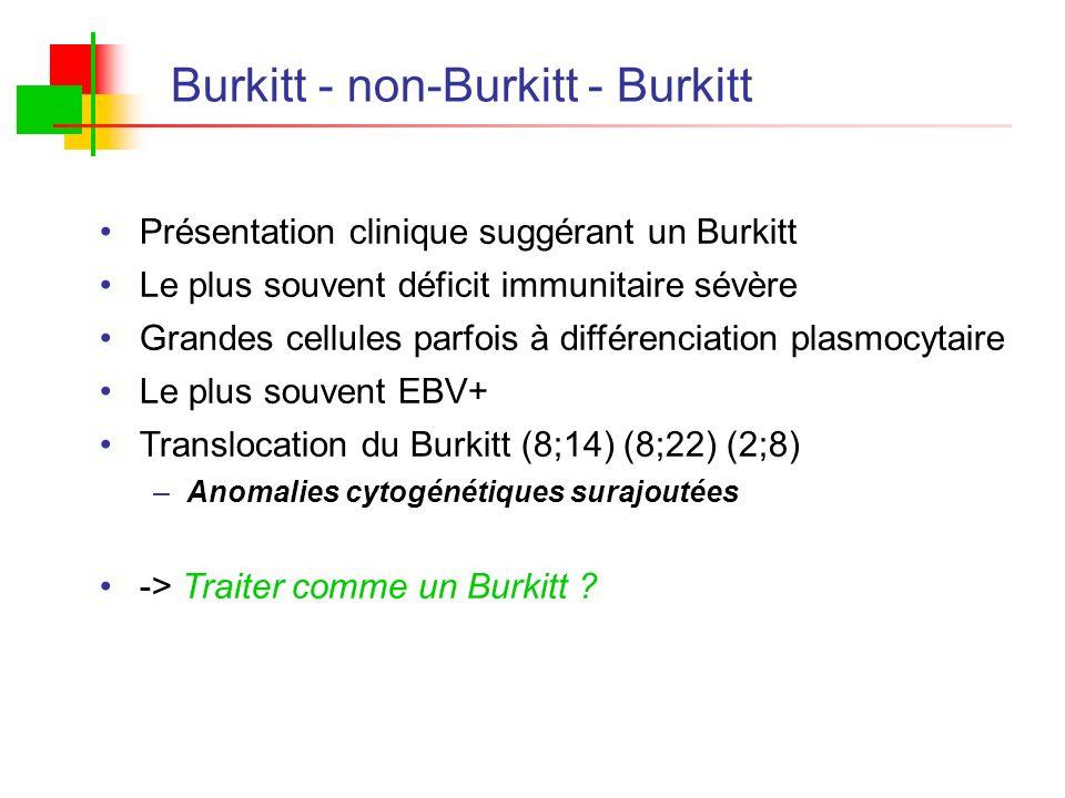 Burkitt - non-Burkitt - Burkitt Présentation clinique suggérant un Burkitt Le plus souvent déficit immunitaire sévère Grandes cellules parfois à diffé